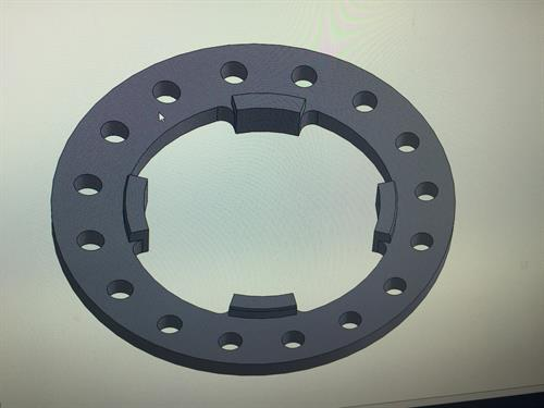 CAD view of a set of custom wheel spacer/adapters we made for a custom show truck