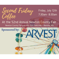 Second Friday Coffee at the Newton County Fair - sponsored by Arvest Bank