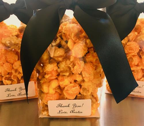 Cheddar Popcorn as a party favor