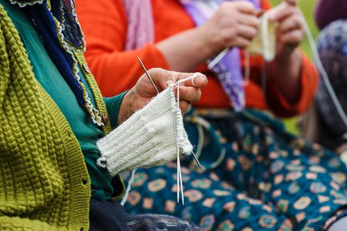 Our residents enjoy crafts like knitting