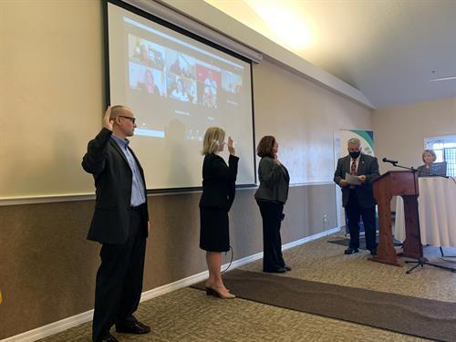 Michael Agri, Jennifer Card, Kimberly Dillon, Mayor Bill Hall, and Reggie Hunter