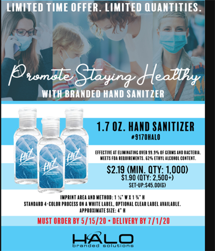 Wide variety of hand sanitizers will be available - order today