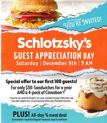 Guest Appreciation Day at Schlotzsky's