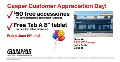 Customer Appreciation Day at Verizon-Cellular Plus in Casper