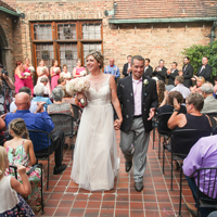 Walking down the aisle at historic Best Place, Milwaukee, WI