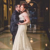 Wedding portrait in the lobby of the Knickerbocker Hotel, Milwaukee, WI