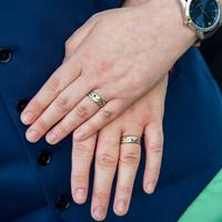Matching wedding bands with Lake Michigan colored gemstones, Racine, WI
