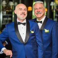 Portrait of the grooms, University Club, Milwaukee, WI