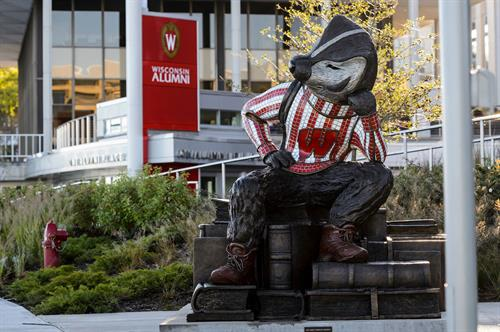 Well Red Bucky in front of the Wisconsin Alumni Association
