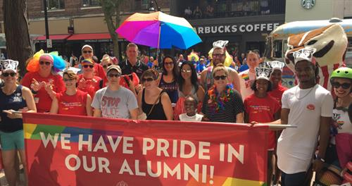 UW Madison alumni march in the Madison Pride Parade in 2018.