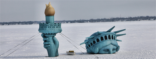 Lady Liberty in Lake Mendota, winter 2019