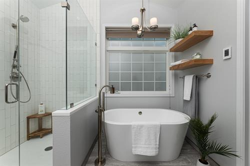 2021 dream bath with soaking tub and walk in shower.