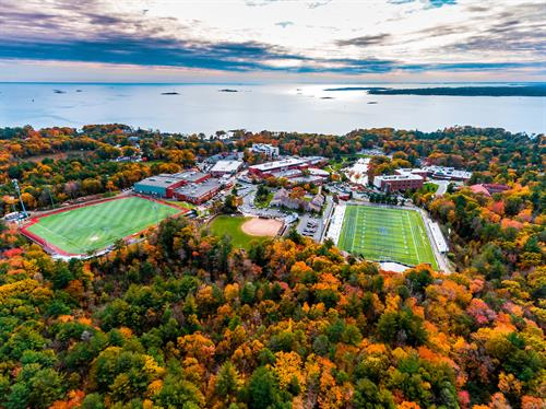 Aerial view of Endicott's campus