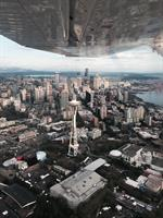 Space Needle and Seattle Center on one of our scenic flights
