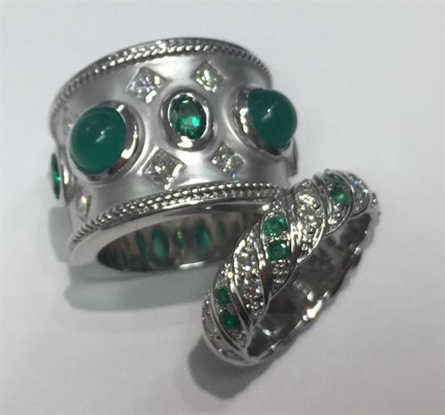 Custom emerald and diamond rings