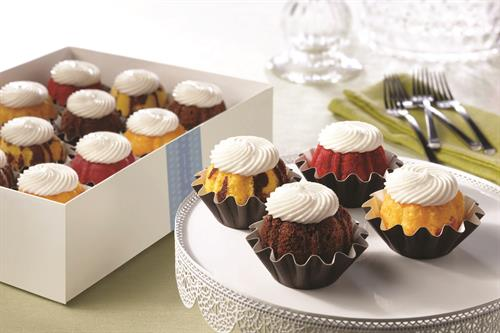 Our bite-sized Bundtinis are available by the dozen in assorted flavors. Bundtini Toppers sold separately.