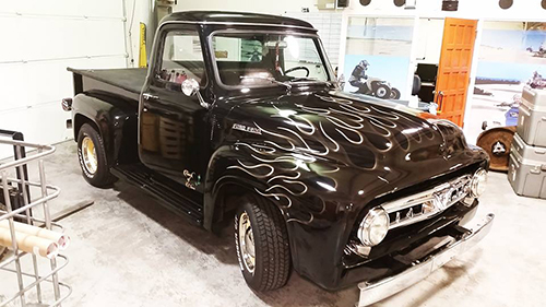 Gloss Black 53 Ford with ghost flame accents