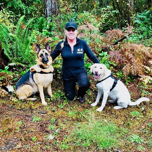 When I'm not running my business, I enjoy training with my Search & Rescue K9's Opal and Mya.