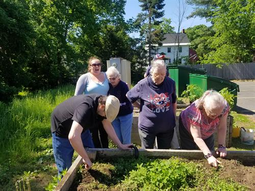 Adult Day Health Clients enjoying gardening activities