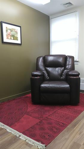 We have three electric recliners for patients who find sitting more comfortable than laying down