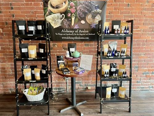 Shop loose leaf teas, perfume oils, essential oil sprays, salves, tinctures, and more.