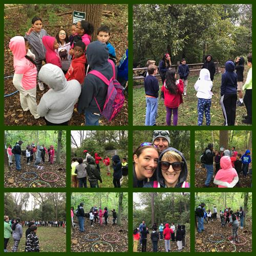 Rupert Elementary fourth graders learning teamwork skills at Althouse Arboretum.