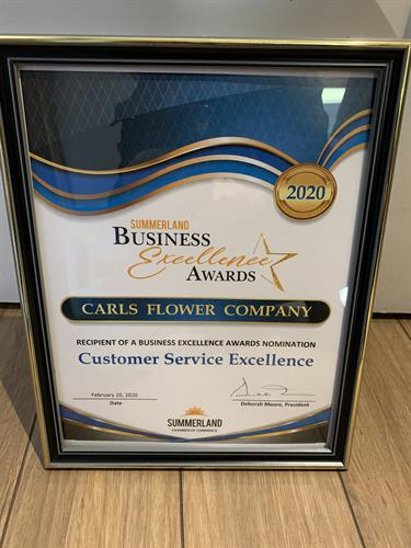 Carls Flower Company Inc is proud to have been nominated for Business Excellence for Customer Service 2020