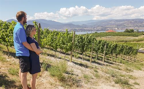 Couple_Enjoyling_Naramata_Bench_Vineyard_Okanagan_Lake_Penticton_2