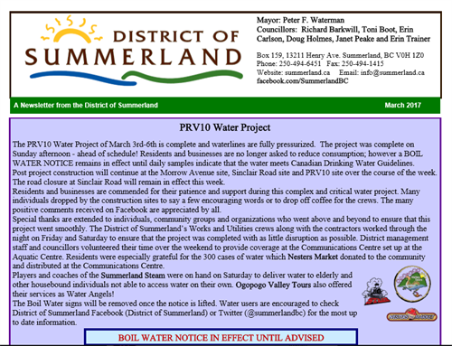 Water Angels for District of Summerland Newsletter March 2017