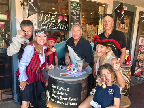 Snack Shack Staff and customers celebrate National Pirate Day with Milk Shakes