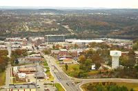 Helicopter flight over downtown Branson, Missouri.