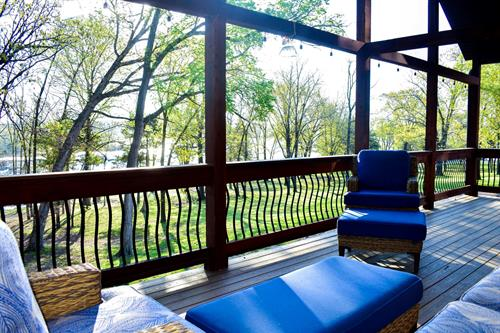 Each cabin has a private deck facing Table Rock Lake.
