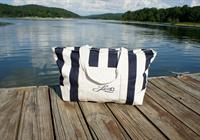 Weekend Lake Striped Canvas Bag - Oversized, Zip w/2 exterior pockets