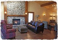 Lodge living area and fire place.
