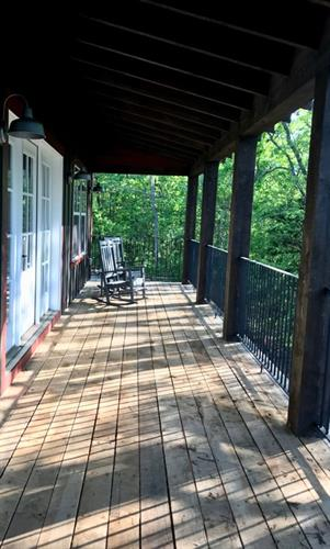deck on bluff cabins