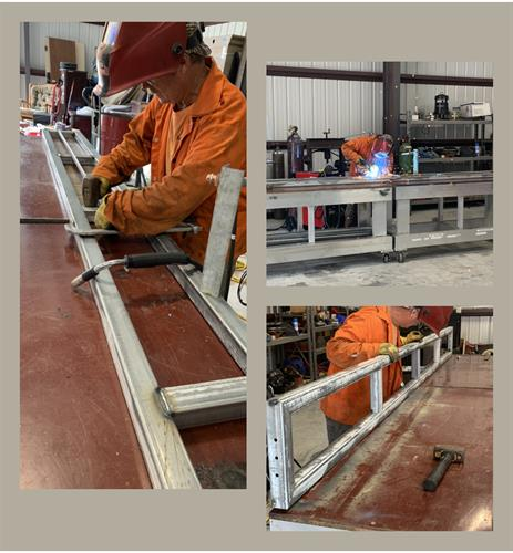 Fabricating support panels for a boat slip insert.