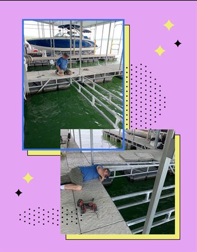 Installed support panels for boat slip insert