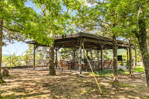 Gather at the picnic pavilion.