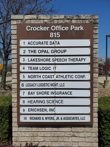 Monument sign at office park entrance