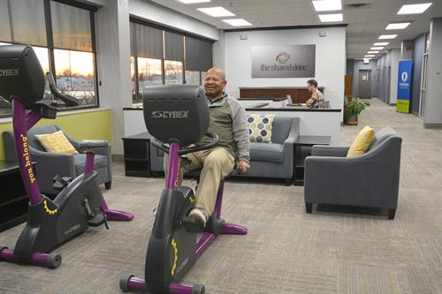 Tenants of Inventrek's business incubator program and its coworking space, The Shared Drive, have access to fitness equipment inside the facility.