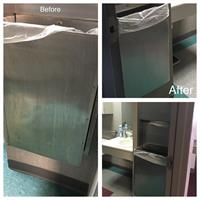 Stainless steel surfaces need attention too--trash receptacles, drinking fountains, kitchen sinks, etc.  We can get them shining again!