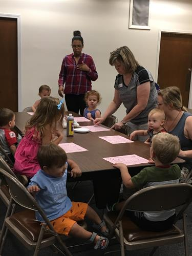 crafting after Story Time at the Center