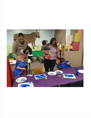 Painting activity after Story Time.  Story Time is always the 2nd Friday of every month at 10am.