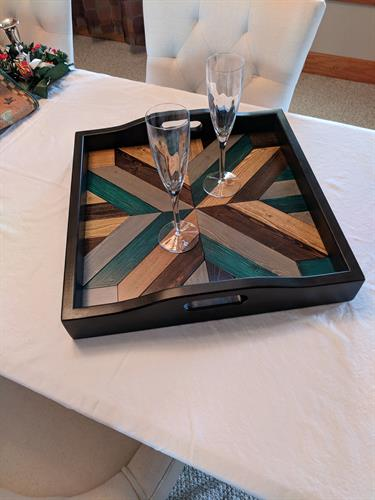hand made serving tray with quilt pattern