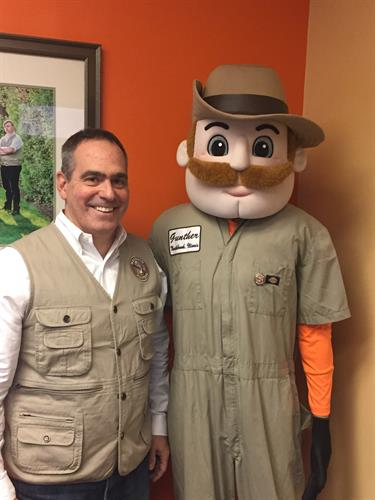Co-Owner Troy Miller with Mosquito Hunter mascot Gunther