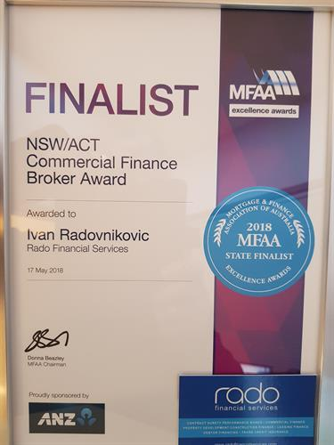 Finalist MFAA State Business Excellence Awards Commercial Finance