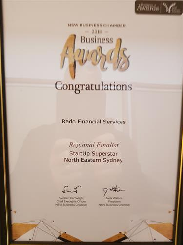 Finalist NSW Chamber of Commerce & Industry Regional North Eastern Sydney