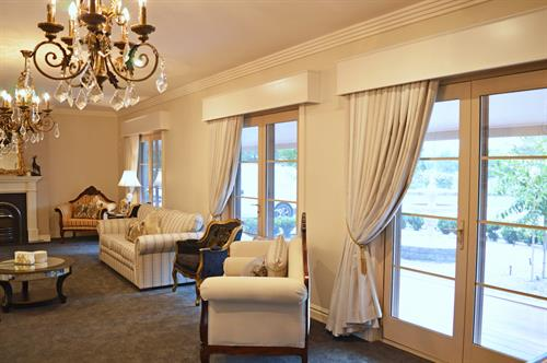 box pleat curtains and painted pelmets