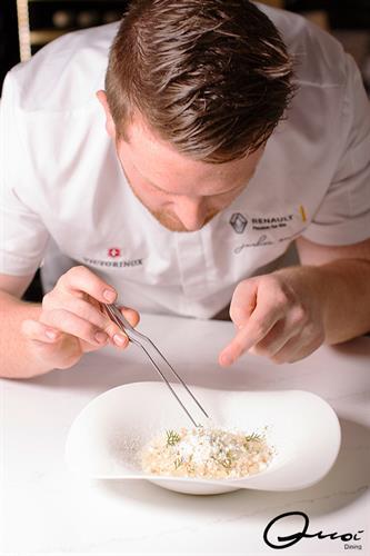 Chef Joshua Mason plating