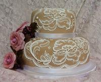 Hand-Painted Lace Wedding Cake